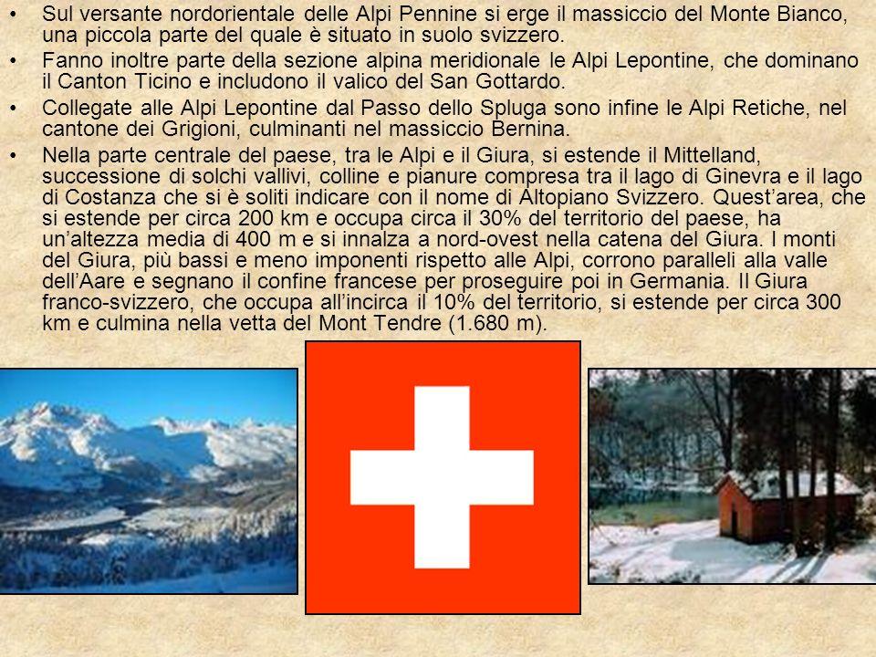 Sul versante nordorientale delle Alpi Pennine si erge il massiccio del Monte Bianco, una piccola parte del quale è situato in suolo svizzero.