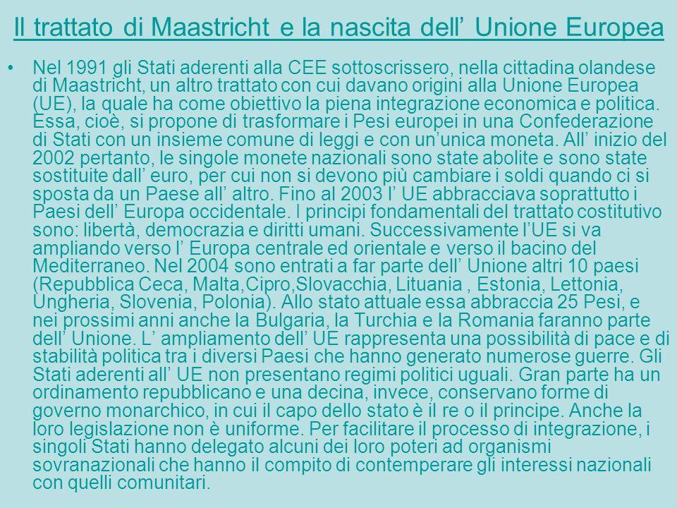 Il trattato di Maastricht e la nascita dell' Unione Europea