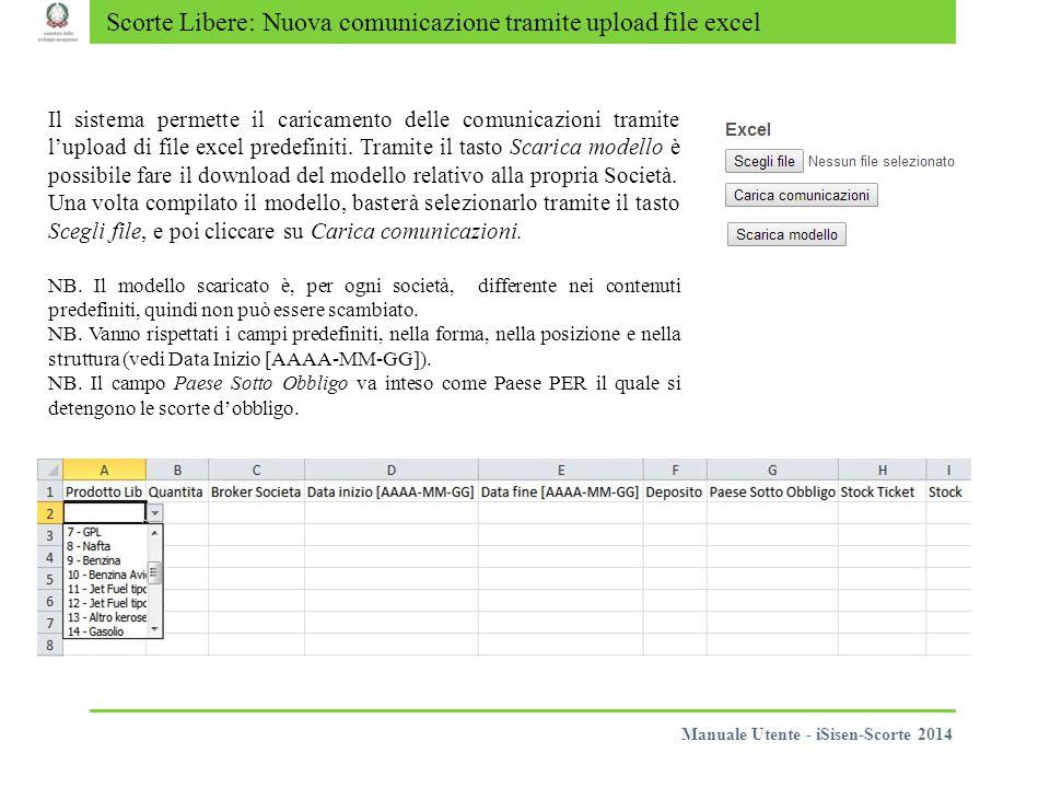 Scorte Libere: Nuova comunicazione tramite upload file excel