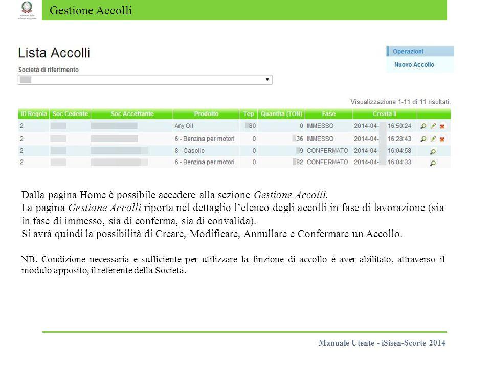 Gestione Accolli Dalla pagina Home è possibile accedere alla sezione Gestione Accolli.