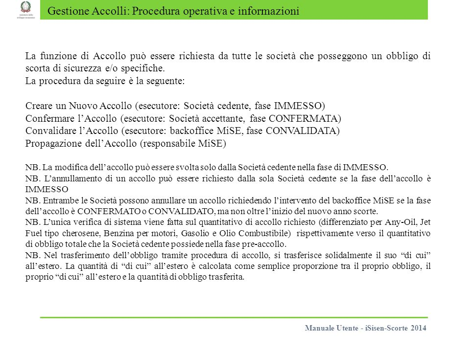 Gestione Accolli: Procedura operativa e informazioni