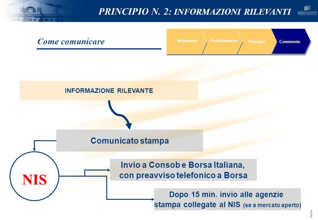 NIS PRINCIPIO N. 2: INFORMAZIONI RILEVANTI Come comunicare