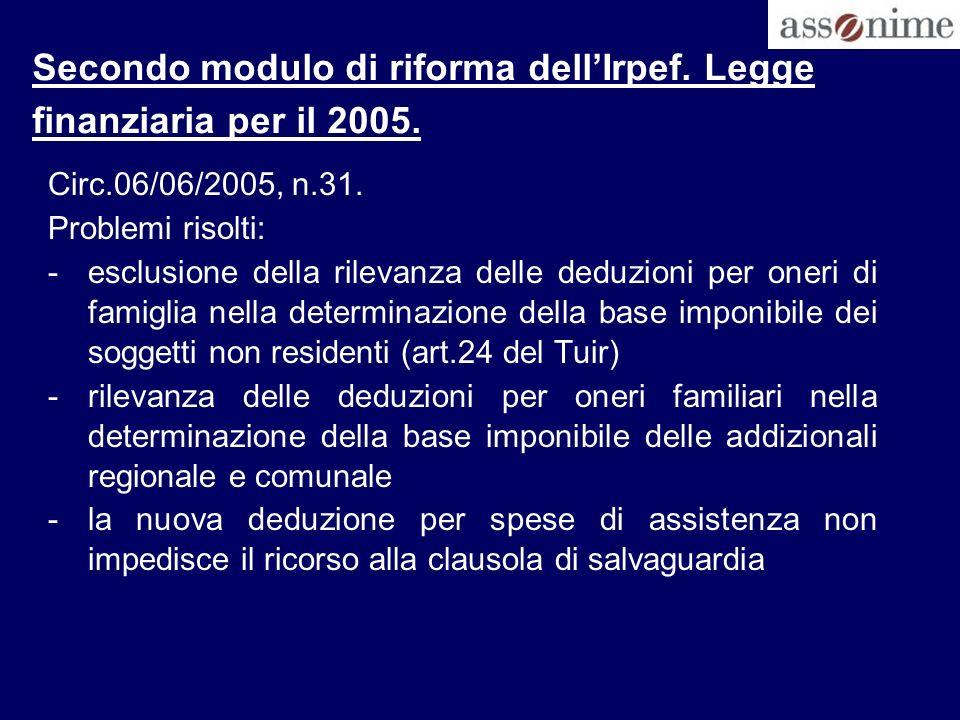 Secondo modulo di riforma dell'Irpef. Legge finanziaria per il 2005.