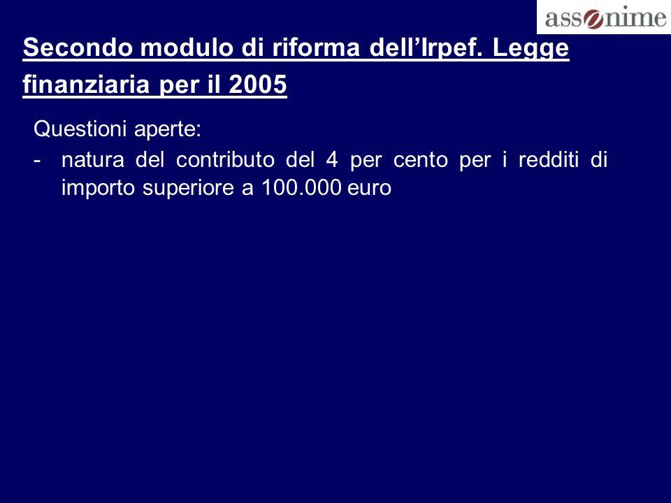Secondo modulo di riforma dell'Irpef. Legge finanziaria per il 2005
