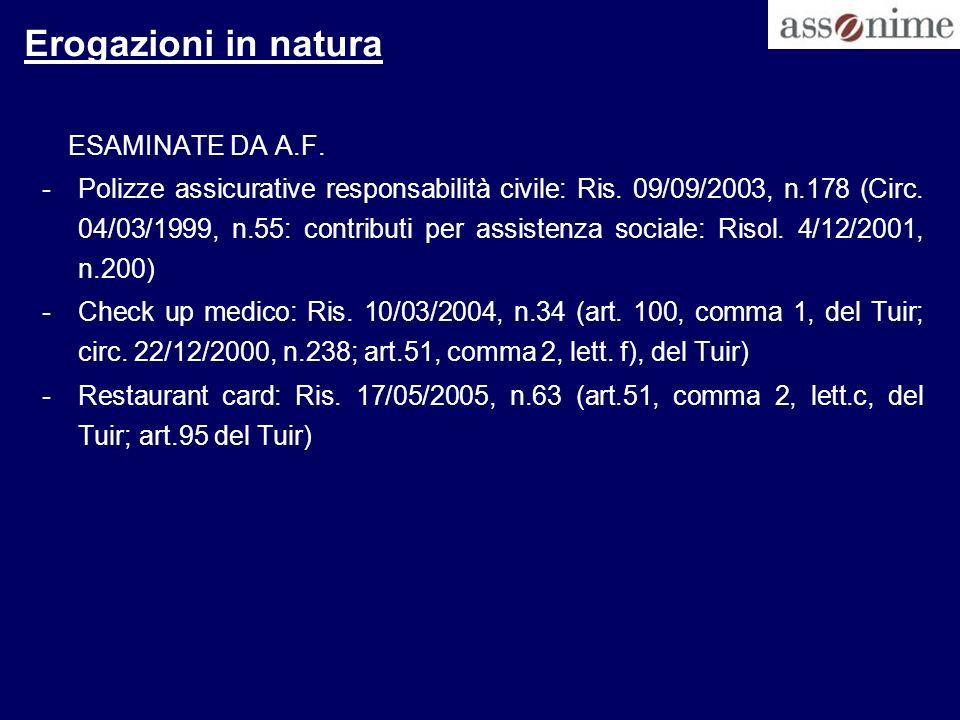 Erogazioni in natura ESAMINATE DA A.F.