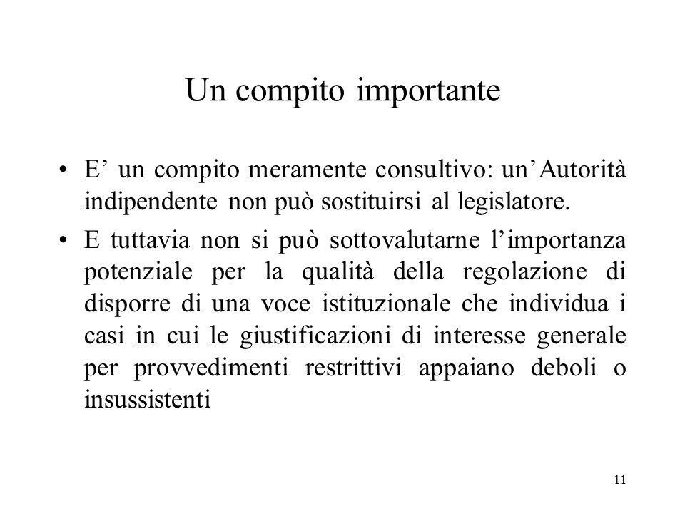 Un compito importante E' un compito meramente consultivo: un'Autorità indipendente non può sostituirsi al legislatore.