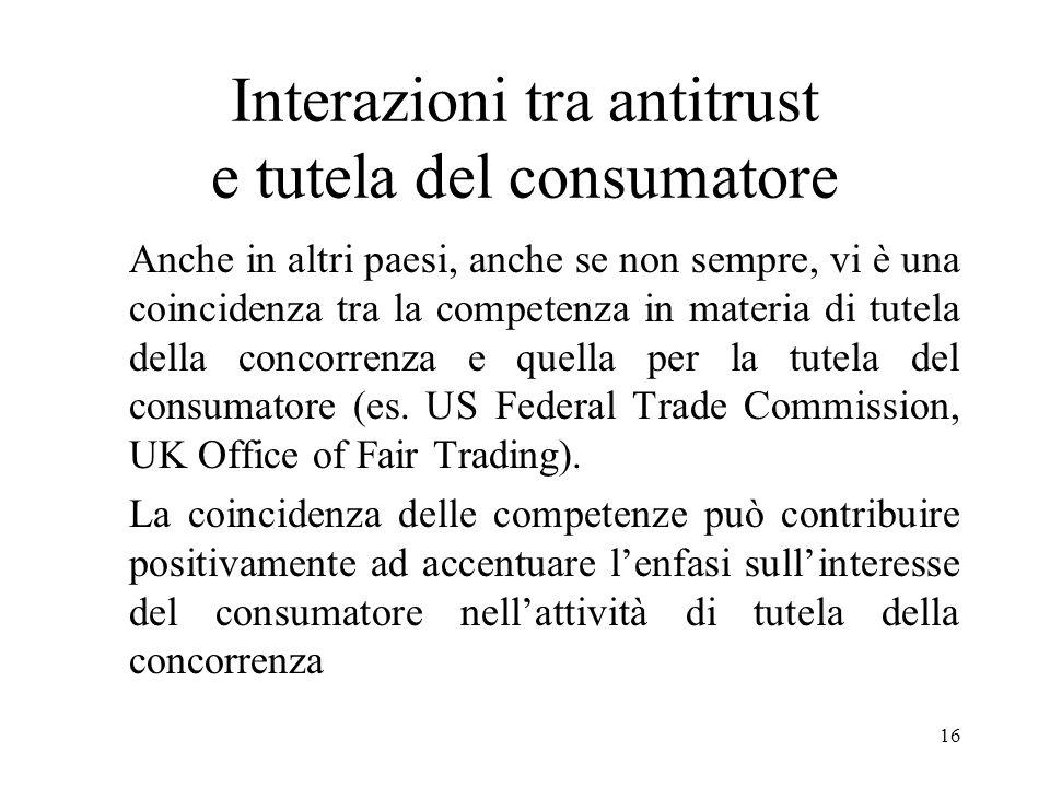 Interazioni tra antitrust e tutela del consumatore