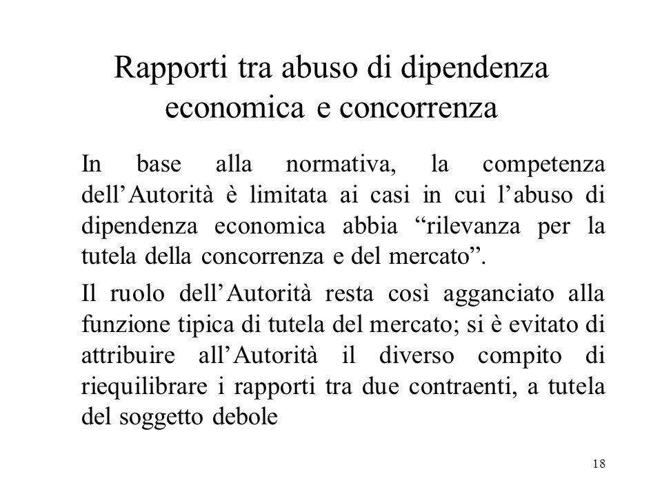 Rapporti tra abuso di dipendenza economica e concorrenza