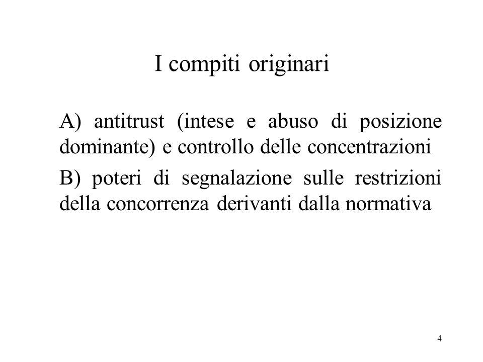 I compiti originari A) antitrust (intese e abuso di posizione dominante) e controllo delle concentrazioni.
