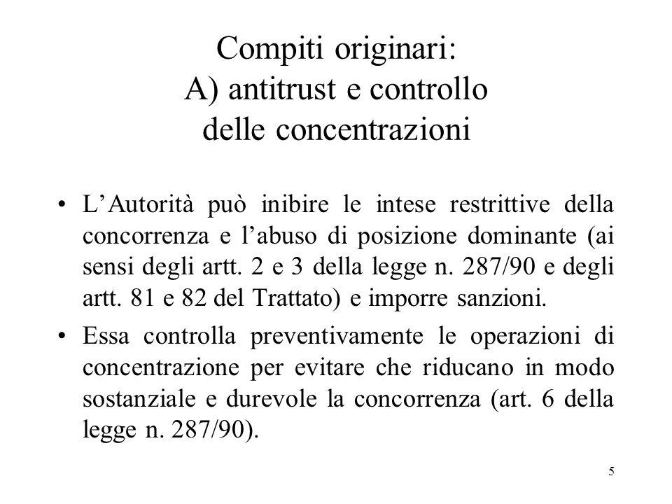 Compiti originari: A) antitrust e controllo delle concentrazioni