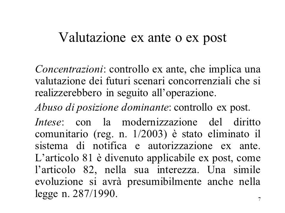 Valutazione ex ante o ex post