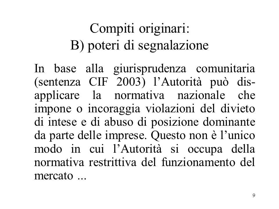 Compiti originari: B) poteri di segnalazione