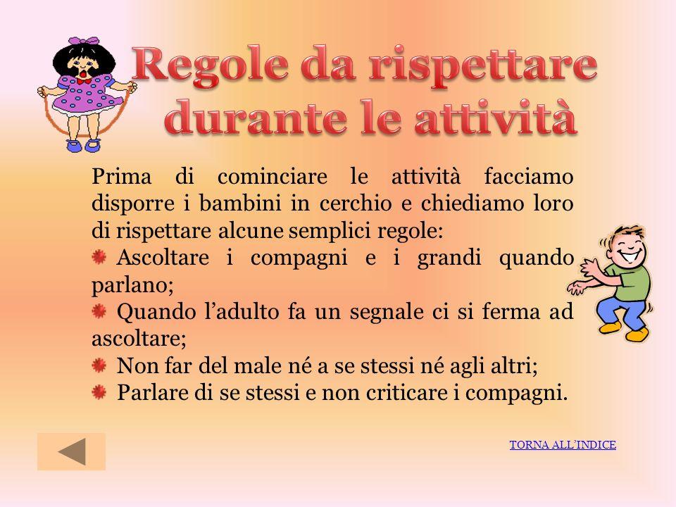 Regole da rispettare durante le attività