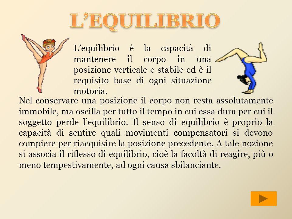 L'EQUILIBRIO L'equilibrio è la capacità di mantenere il corpo in una posizione verticale e stabile ed è il requisito base di ogni situazione motoria.