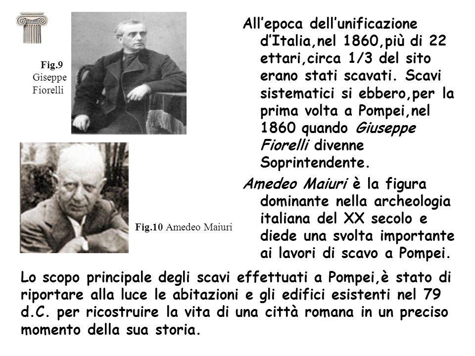 All'epoca dell'unificazione d'Italia,nel 1860,più di 22 ettari,circa 1/3 del sito erano stati scavati. Scavi sistematici si ebbero,per la prima volta a Pompei,nel 1860 quando Giuseppe Fiorelli divenne Soprintendente.