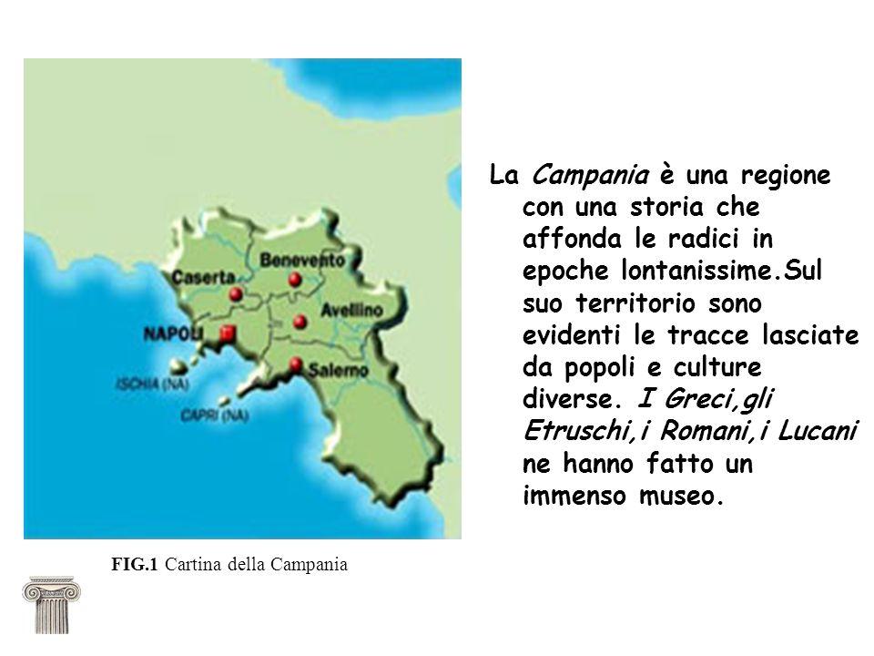 La Campania è una regione con una storia che affonda le radici in epoche lontanissime.Sul suo territorio sono evidenti le tracce lasciate da popoli e culture diverse. I Greci,gli Etruschi,i Romani,i Lucani ne hanno fatto un immenso museo.