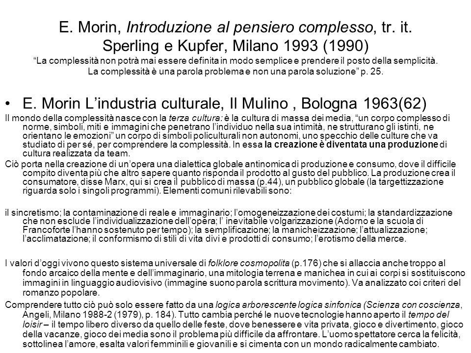 E. Morin L'industria culturale, Il Mulino , Bologna 1963(62)