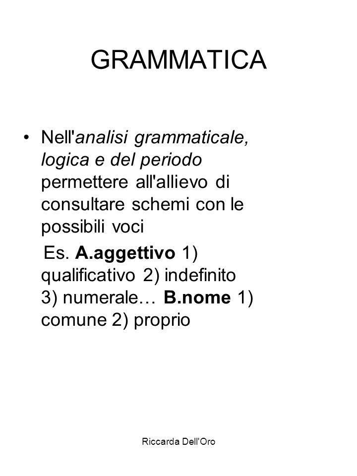 GRAMMATICANell analisi grammaticale, logica e del periodo permettere all allievo di consultare schemi con le possibili voci.