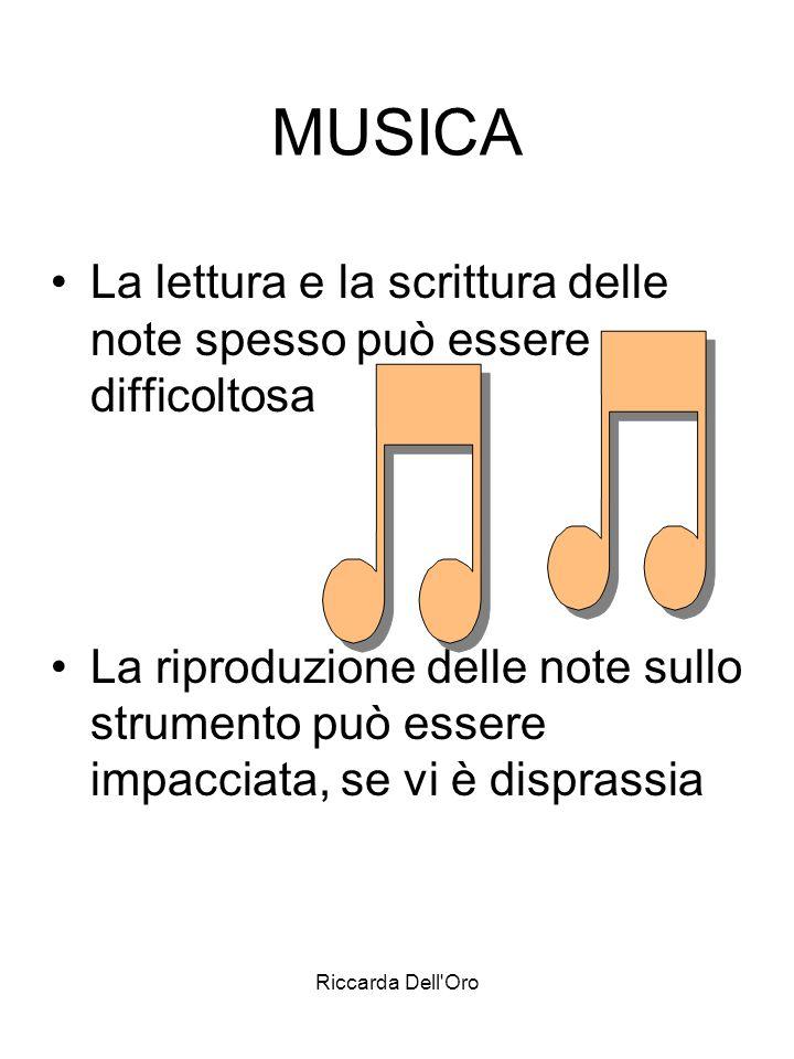MUSICALa lettura e la scrittura delle note spesso può essere difficoltosa.