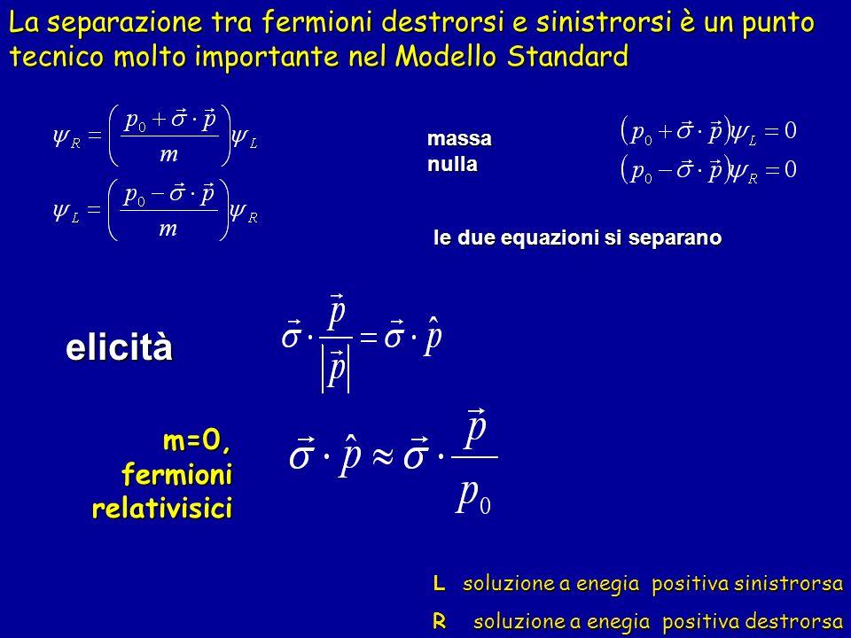 La separazione tra fermioni destrorsi e sinistrorsi è un punto tecnico molto importante nel Modello Standard
