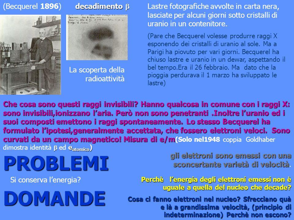 PROBLEMI DOMANDE (Becquerel 1896) decadimento 