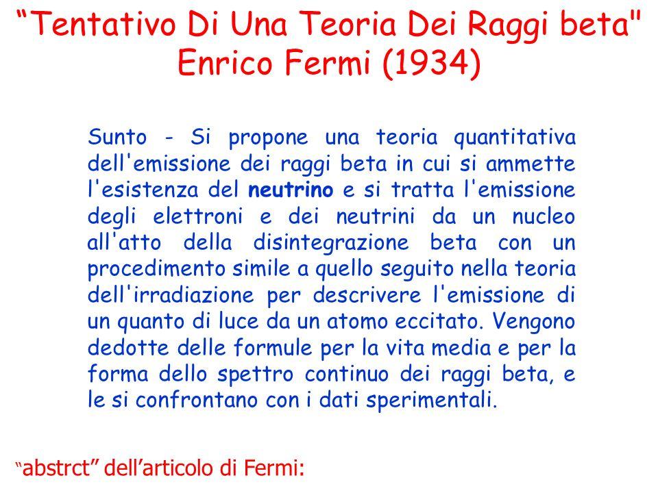 Tentativo Di Una Teoria Dei Raggi beta Enrico Fermi (1934)