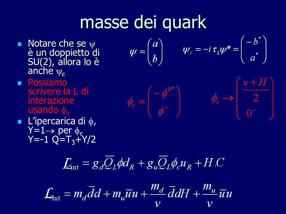 masse dei quark Notare che se  è un doppietto di SU(2), allora lo è anche c. Possiamo scrivere la L di interazione usando c.
