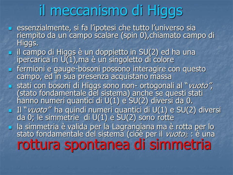 il meccanismo di Higgs essenzialmente, si fa l'ipotesi che tutto l'universo sia riempito da un campo scalare (spin 0),chiamato campo di Higgs.