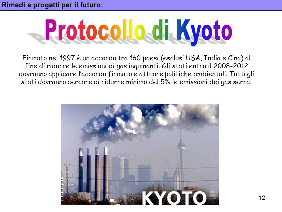 Protocollo di Kyoto Rimedi e progetti per il futuro: