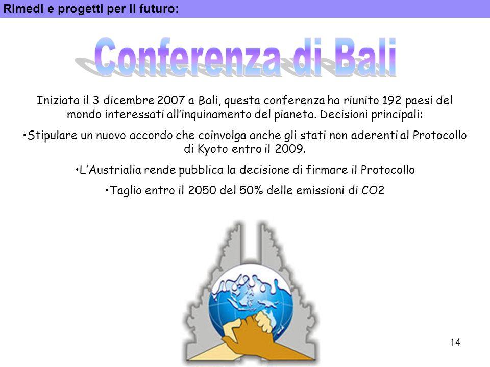 Conferenza di Bali Rimedi e progetti per il futuro: