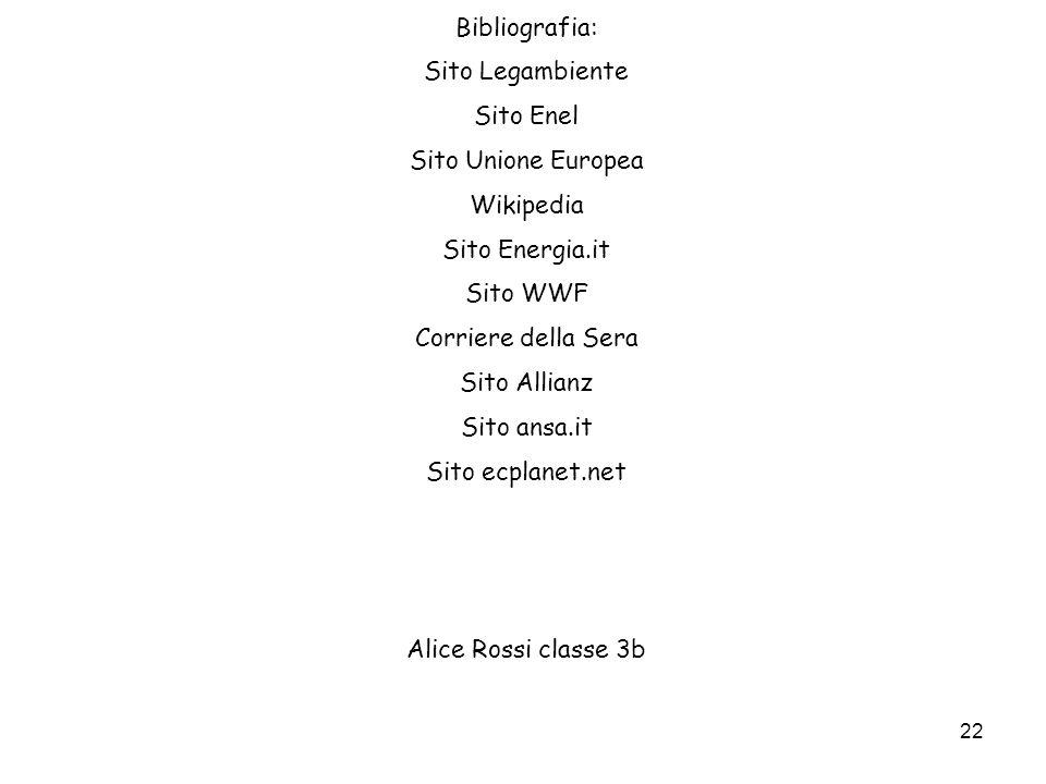 Bibliografia: Sito Legambiente. Sito Enel. Sito Unione Europea. Wikipedia. Sito Energia.it. Sito WWF.
