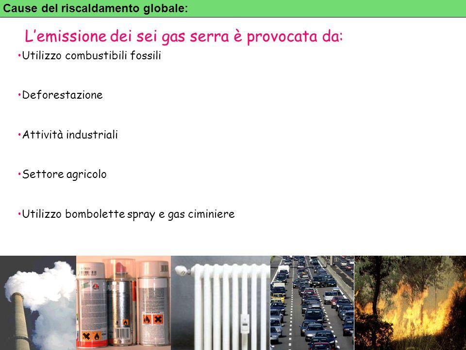 L'emissione dei sei gas serra è provocata da: