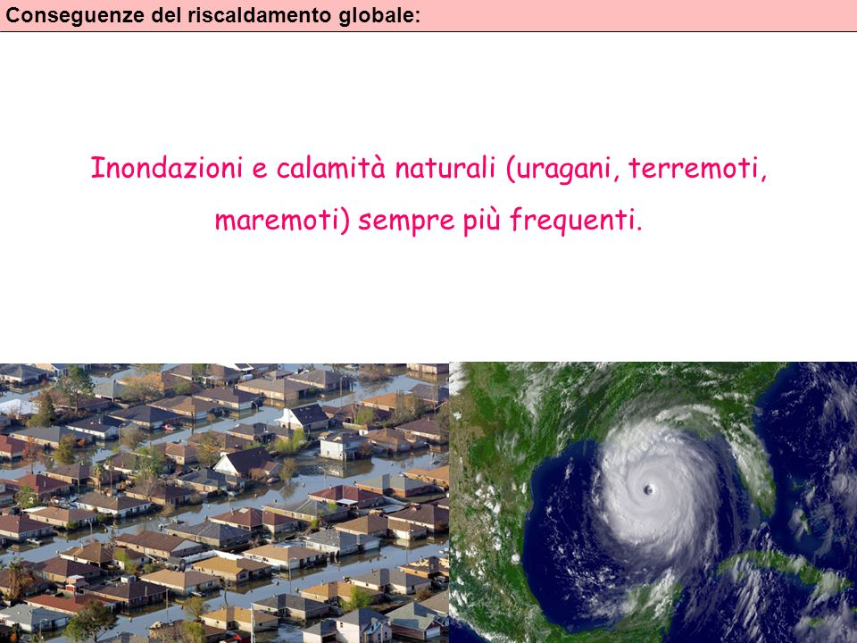 Inondazioni e calamità naturali (uragani, terremoti,
