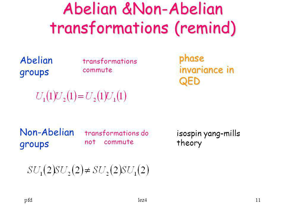 Abelian &Non-Abelian transformations (remind)