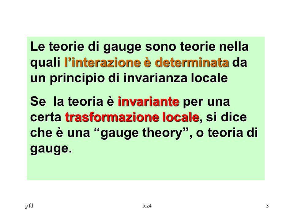 Le teorie di gauge sono teorie nella quali l'interazione è determinata da un principio di invarianza locale