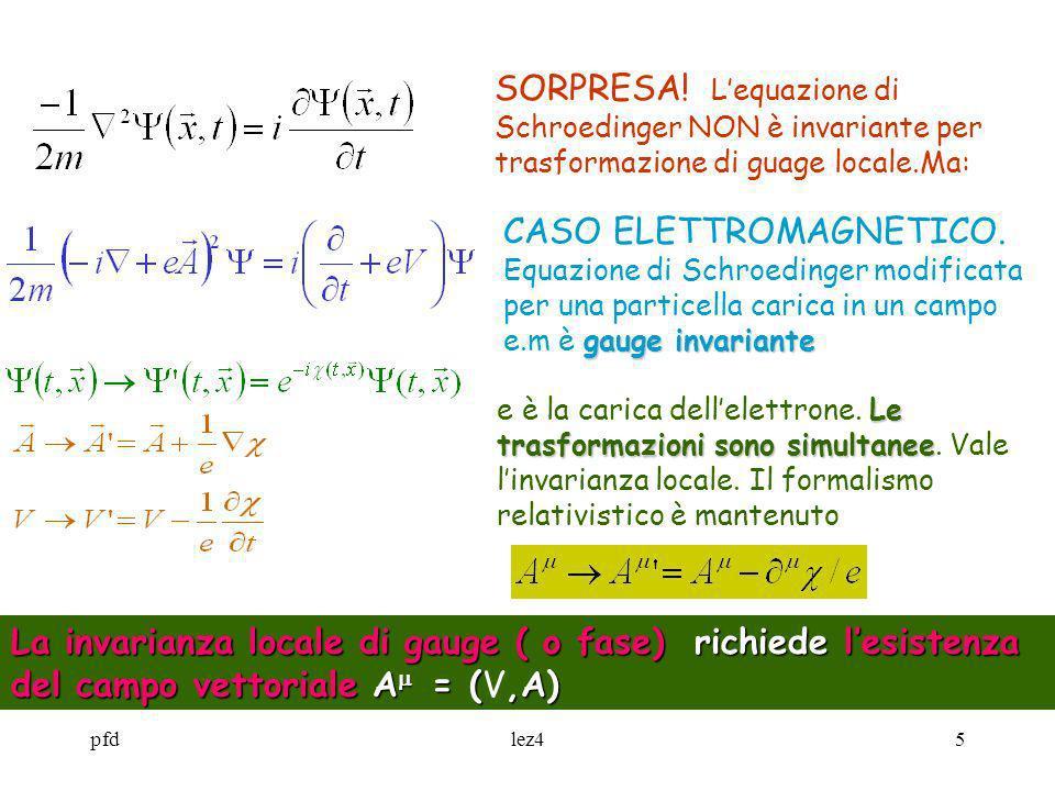 SORPRESA! L'equazione di Schroedinger NON è invariante per trasformazione di guage locale.Ma: