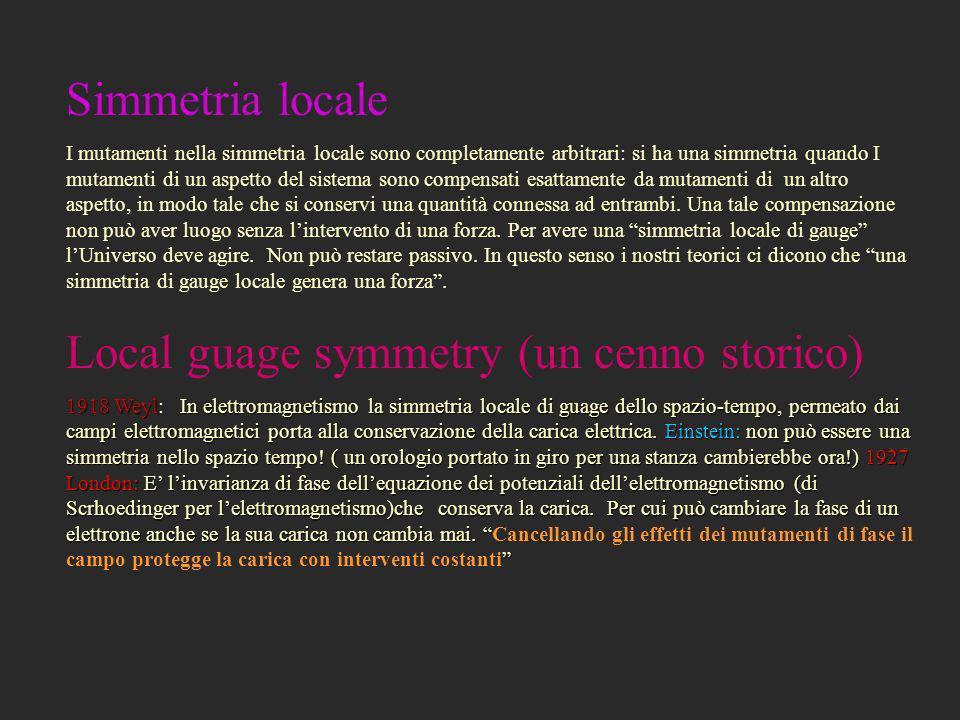 Local guage symmetry (un cenno storico)