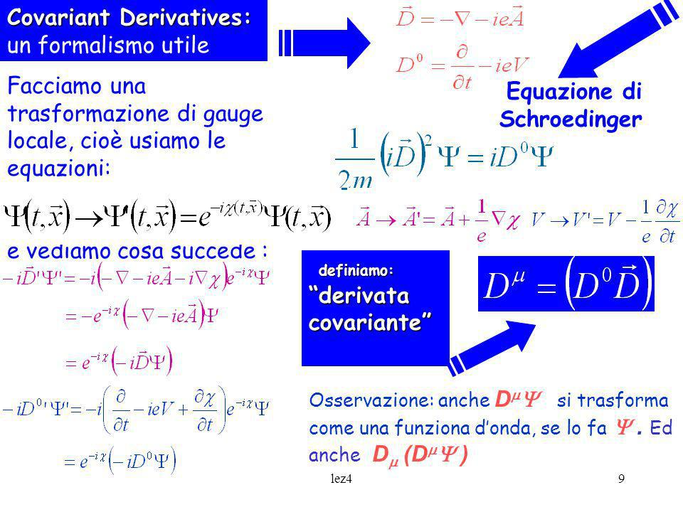 Covariant Derivatives: un formalismo utile