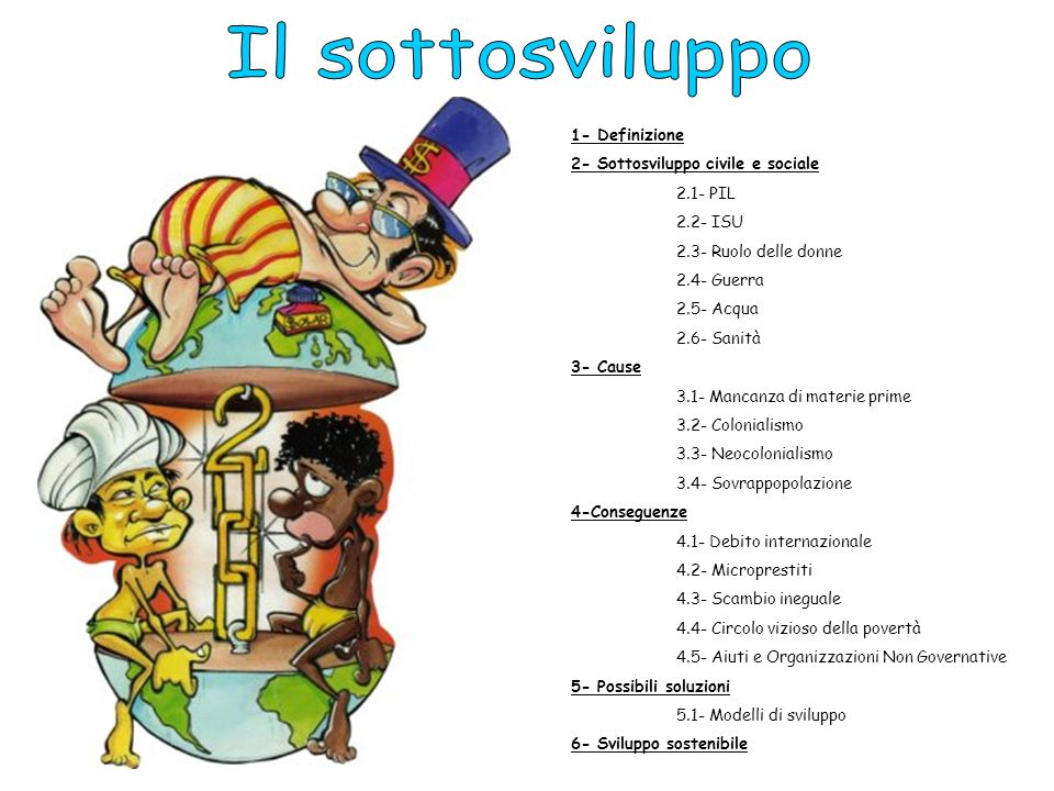 Il sottosviluppo 1- Definizione 2- Sottosviluppo civile e sociale