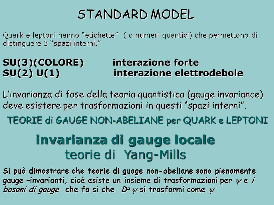 invarianza di gauge locale teorie di Yang-Mills