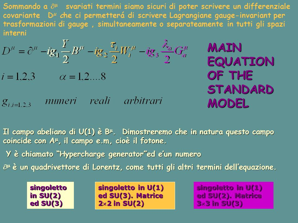 MAIN EQUATION OF THE STANDARD MODEL