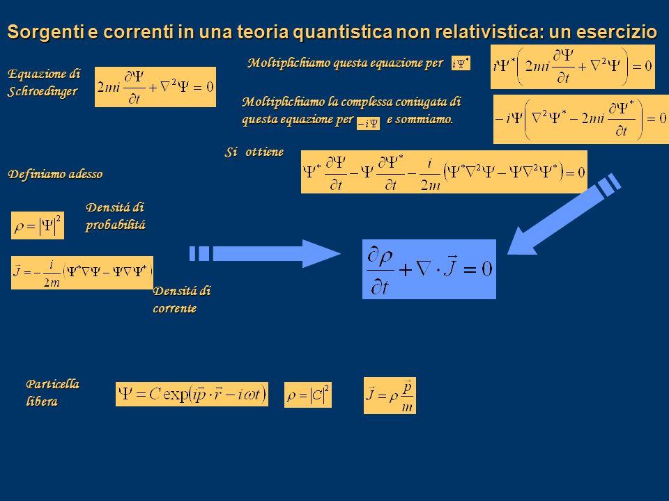Sorgenti e correnti in una teoria quantistica non relativistica: un esercizio
