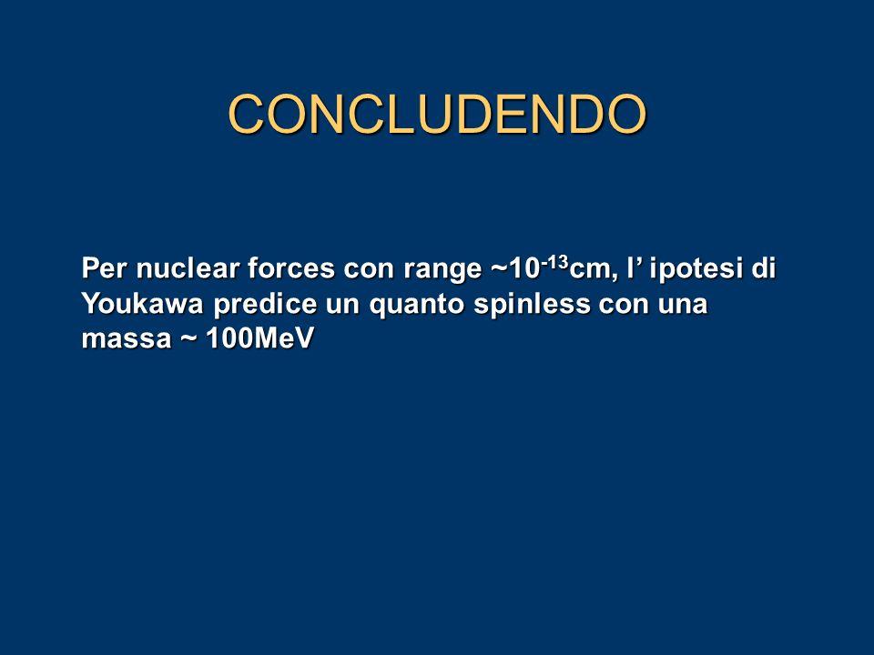 CONCLUDENDO Per nuclear forces con range ~10-13cm, l' ipotesi di Youkawa predice un quanto spinless con una massa ~ 100MeV.