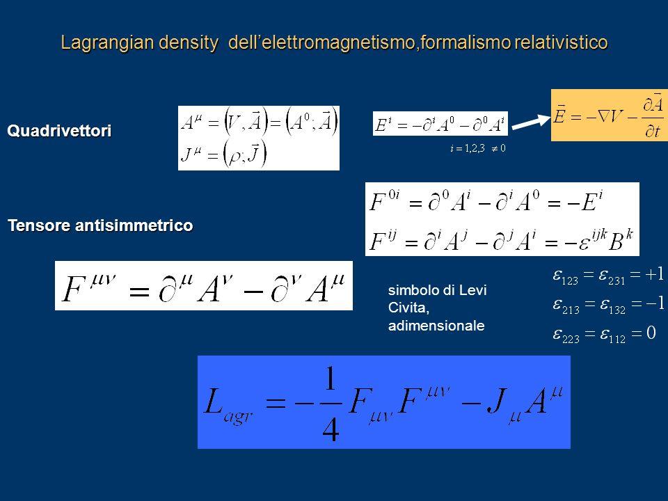 Lagrangian density dell'elettromagnetismo,formalismo relativistico