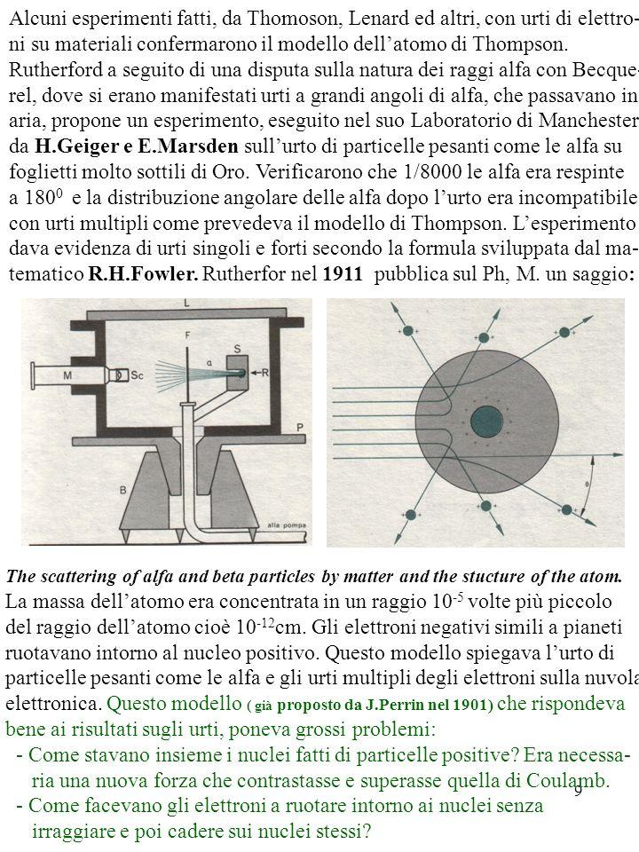 Alcuni esperimenti fatti, da Thomoson, Lenard ed altri, con urti di elettro-