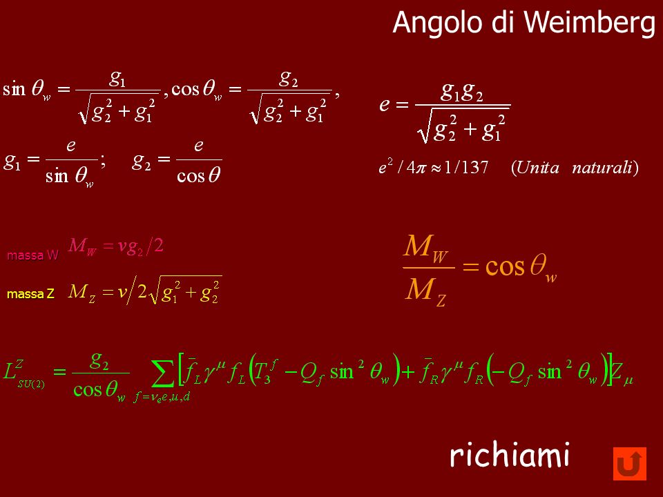 Angolo di Weimberg massa W massa Z richiami