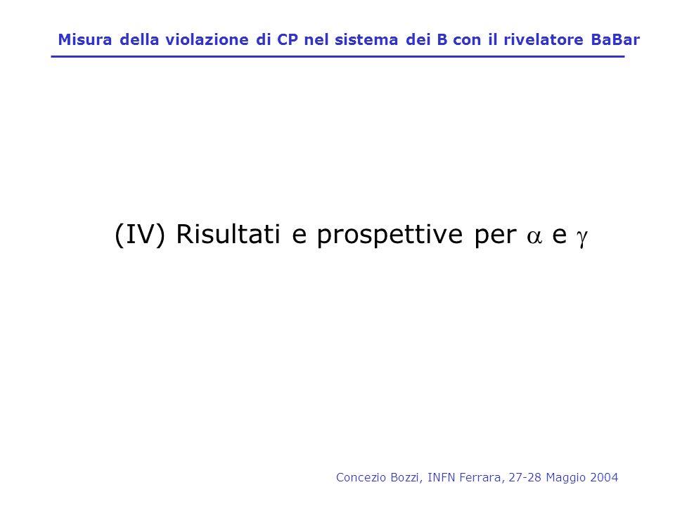 (IV) Risultati e prospettive per a e g