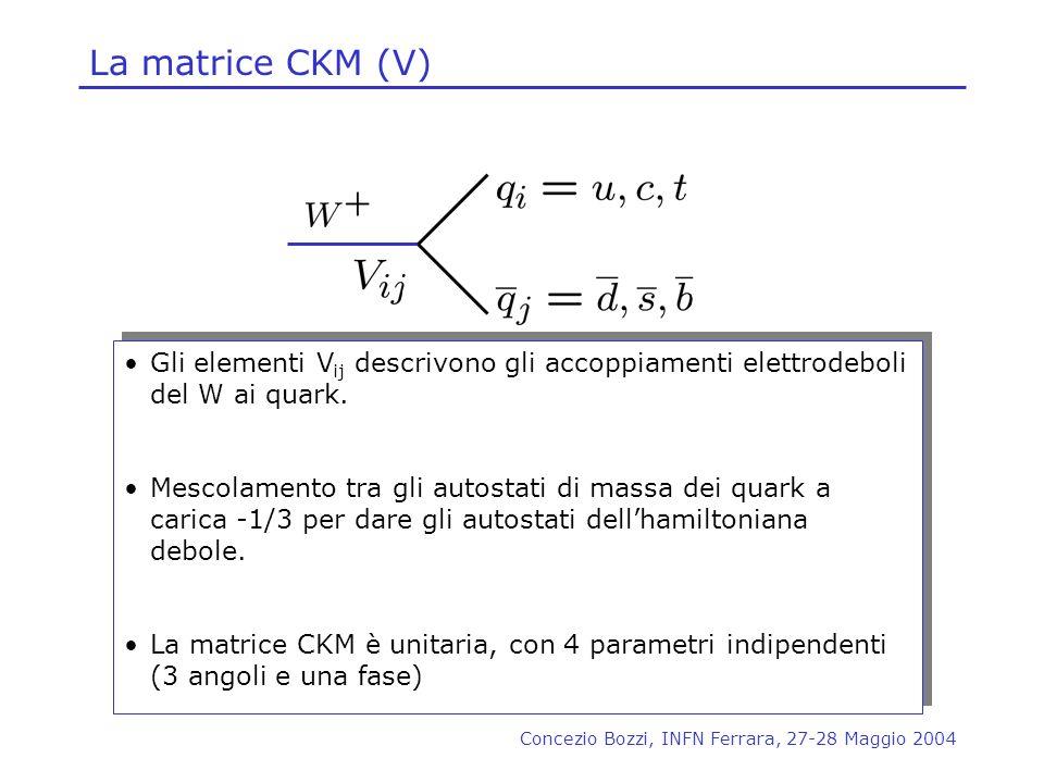 La matrice CKM (V) Gli elementi Vij descrivono gli accoppiamenti elettrodeboli del W ai quark.