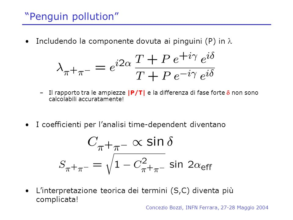 Penguin pollution Includendo la componente dovuta ai pinguini (P) in l.