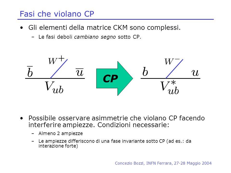 CP Fasi che violano CP Gli elementi della matrice CKM sono complessi.